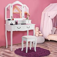 Load image into Gallery viewer, Budget friendly charmaid vanity set with tri folding mirror and 4 drawers makeup dressing table with cushioned stool makeup vanity set for women girls bedroom makeup table and stool set white