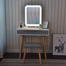 Load image into Gallery viewer, Discover the best vanity table set with adjustable brightness mirror and cushioned stool dressing table vanity makeup table with free make up organizer