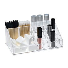 Load image into Gallery viewer, Purchase acrylic makeup organizer and holder storage for make up brushes lipstick and cosmetic supplies fits on counter top vanity or desk clear