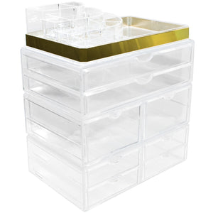Top rated sorbus acrylic cosmetic makeup and jewelry storage case display with gold trim spacious design great for bathroom dresser vanity and countertop gold set 2