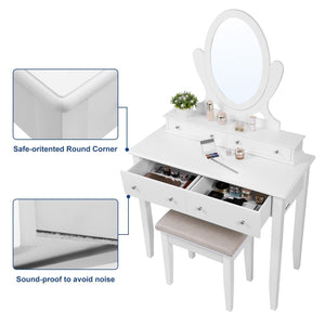 Featured songmics vanity table set with mirror and 4 drawers wooden makeup dressing table with large stool gift for women girls white urdt22wt