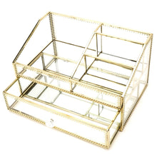 Load image into Gallery viewer, Budget glass makeup organizer drawer cosmetic storage for vanity stunning divided cabinet to hold makeup perfume brushes creams skincare large beauty products display for countertop mirrored vanitytray