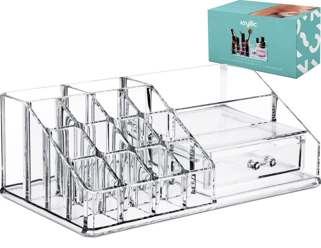 Discover acrylic cosmetic storage lipstick organizer decor 15 slot organizers 1 box drawer tray holder for makeup perfume brush pens pencil lipgloss and other beauty accessories for vanity or countertop