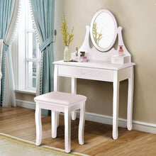Load image into Gallery viewer, Budget friendly giantex vanity table set with 360 rotating round mirror makeup mirrored dressing table with cushioned stool 3 drawers bedroom vanities for women girls detachable mirror stand to be a desk white