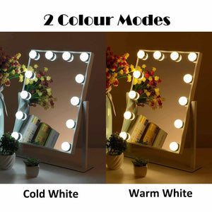 Heavy duty mrah hollywood makeup vanity mirror white lighted makeup mirror tabletops lighted mirror led illuminated cosmetic mirror with led dimmable bulbs