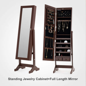 Best mecor jewelry armoire led standing mirrored jewelry cabinet organizer storage lockable full length mirror makeup box w 2 drawers 5 shelves 3 adjustable angle brown