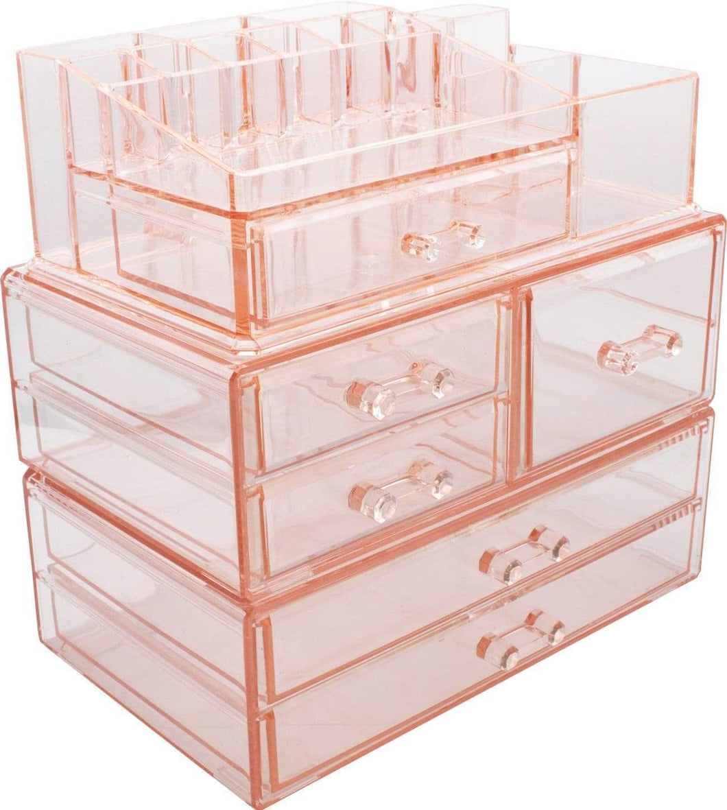 Select nice sorbus acrylic cosmetics makeup and jewelry storage case display sets interlocking drawers to create your own specially designed makeup counter stackable and interchangeable pink