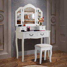 Load image into Gallery viewer, Buy charmaid vanity set with tri folding mirror and 4 drawers makeup dressing table with cushioned stool makeup vanity set for women girls bedroom makeup table and stool set white