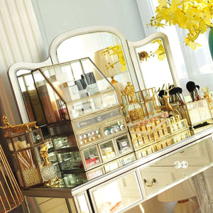 Order now antique spacious makeup organizer mirror glass drawers set brass metal cosmetic vanity storage stunning jewelry cube countertop dresser vintage makeup holder nightstand for perfume brushes skincare