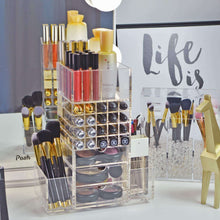 Load image into Gallery viewer, Selection spinning makeup organizer rotating tower acrylic all in one lipstick lip gloss makeup brush holder drawers pockets for eyeshadows compacts blushes powders perfume