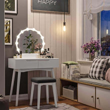 Load image into Gallery viewer, Top rated vasagle vanity table set with 10 light bulbs and touch switch dressing makeup table desk with large round mirror 2 sliding drawers 1 cushioned stool for bedroom bathroom white urdt11wl