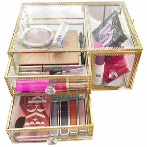 Cheap antique beauty display clear glass 3drawers palette organizer cosmetic storage makeup container 3cube hoder beauty dresser vanity cabinet decorative keepsake box