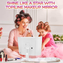 Load image into Gallery viewer, Order now lighted makeup mirror with lights makeup vanity mirror with lights and magnification make up mirrors lighted magnifying portable trifold cosmetic mirror with long 6 6ft usb cable and charger