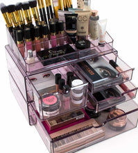 Load image into Gallery viewer, Get sorbus acrylic cosmetics makeup and jewelry storage case x large display sets interlocking scoop drawers to create your own specially designed makeup counter stackable and interchangeable purple