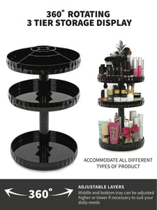 Try modern chic makeup organizer 360 rotation black adjustable height 3 layers storage fit makeup lipstick cosmetic skincare perfume perfect on dresser bedroom bathroom countertop
