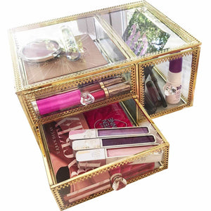 Buy now antique beauty display clear glass 3drawers palette organizer cosmetic storage makeup container 3cube hoder beauty dresser vanity cabinet decorative keepsake box