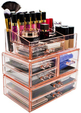 Load image into Gallery viewer, Shop for sorbus acrylic cosmetics makeup and jewelry storage case display sets interlocking drawers to create your own specially designed makeup counter stackable and interchangeable pink
