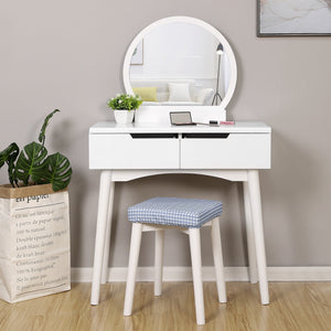 Save on vasagle vanity table set with round mirror 2 large drawers with sliding rails makeup dressing table with cushioned stool white urdt11w