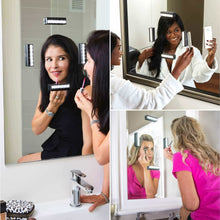 Load image into Gallery viewer, Discover the best leopara makeup lighting system portable vanity lights professional lighting for any mirror travel friendly rechargeable onyx chrome