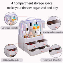 Load image into Gallery viewer, Heavy duty fazhen dust proof makeup organizer cosmetic and jewelry storage with dustproof lid display boxes with drawers for vanity skin care products rack dressing table desktop finishing box