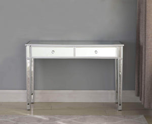 On amazon mirrored 2 drawer media console table ga home makeup table desk vanity for women home office writing desk smooth matte silver finish with faux crystal knobs