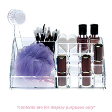 Load image into Gallery viewer, Save acrylic makeup organizer and holder storage for make up brushes lipstick and cosmetic supplies fits on counter top vanity or desk clear
