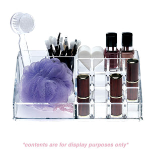 Save acrylic makeup organizer and holder storage for make up brushes lipstick and cosmetic supplies fits on counter top vanity or desk clear