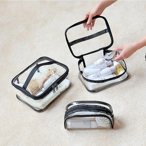 Portable Clear Makeup Bag Zipper Waterproof Transparent Travel Storage Pouch Cosmetic Toiletry Bag With Handle