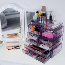 Load image into Gallery viewer, On amazon sorbus acrylic cosmetics makeup and jewelry storage case x large display sets interlocking scoop drawers to create your own specially designed makeup counter stackable and interchangeable purple 1