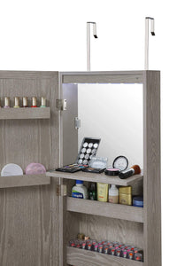 Top rated abington lane wall mounted over the door makeup organizer beauty armoire with led lights and stowaway mirror heathered grey