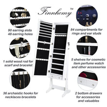 Load image into Gallery viewer, Top rated finnhomy lockable mirrored jewelry armoire storage organizer free standing makeup cabinet holder w led light stand for ring necklace earring cosmetics broach bracelet white