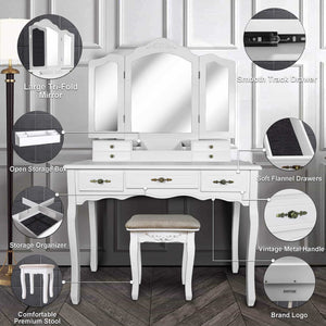 Shop for vanity beauty station large tri folding necklace hooked mirrors 6 organization 7 drawers makeup dress table with cushioned stool set white