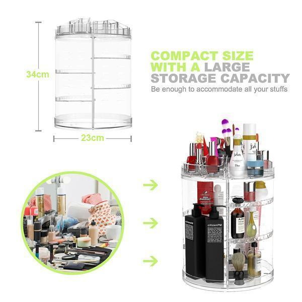 50% OFF TODAY-360 Rotating Makeup Organizer DIY Adjustable Carousel