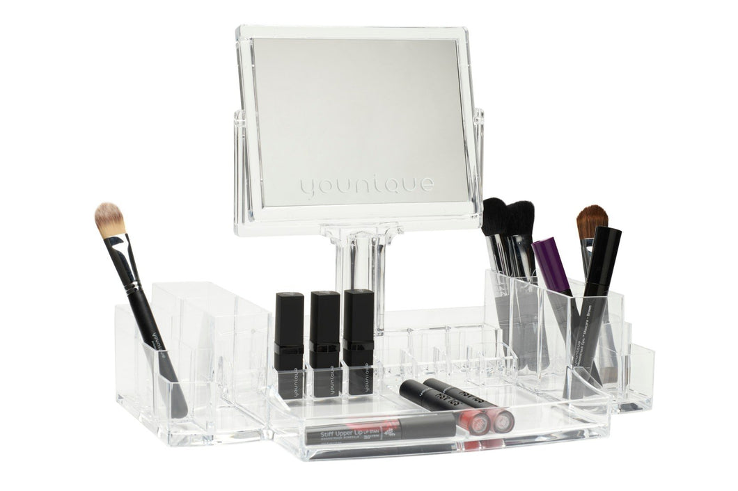 Acrylic Makeup Organizer with Double Sided Mirror