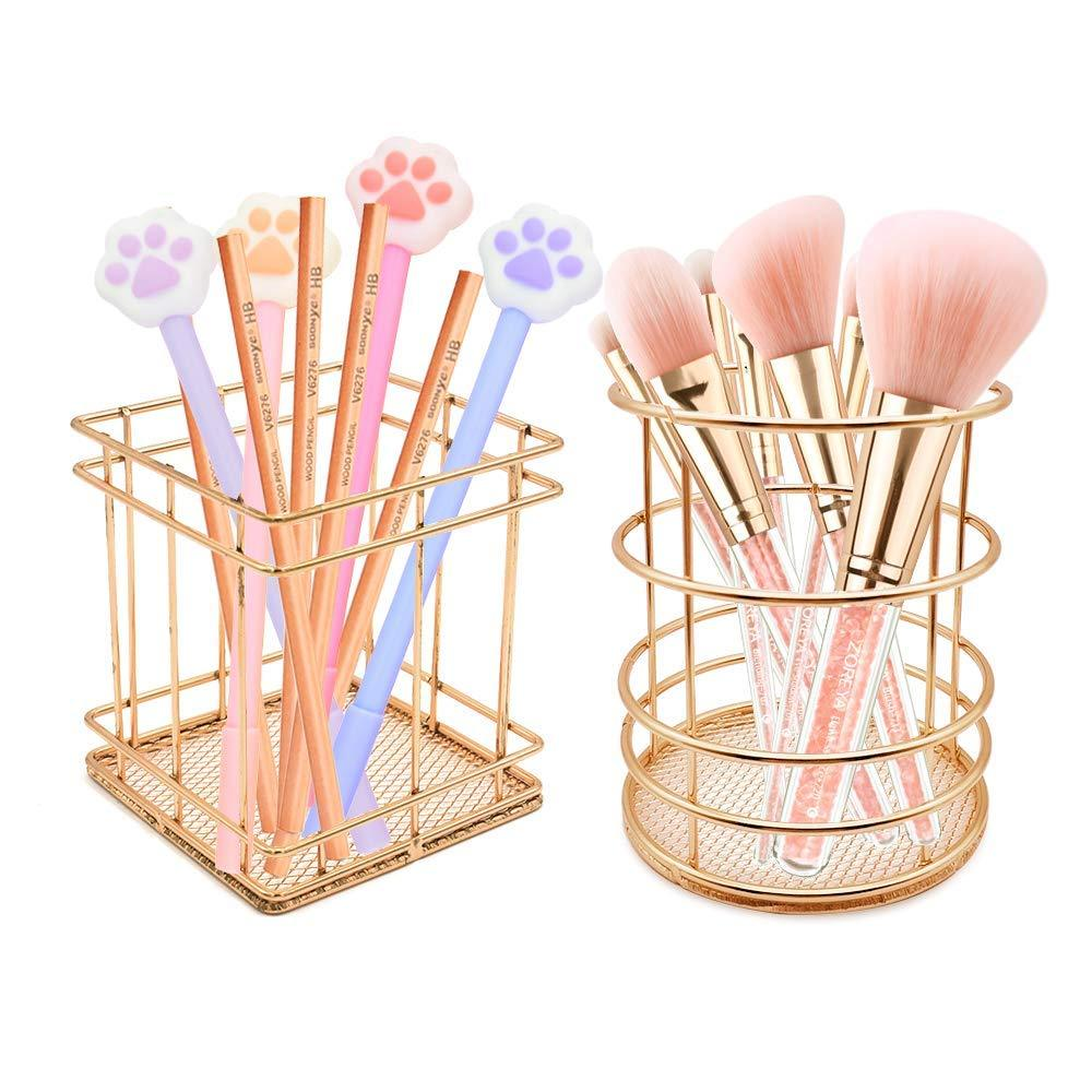2 Pack Pencil Holder, Square+Round Iron Wire Metal Desktop Pencil Holder Stationary Makeup Organizer Holder for Office Home (Gold)