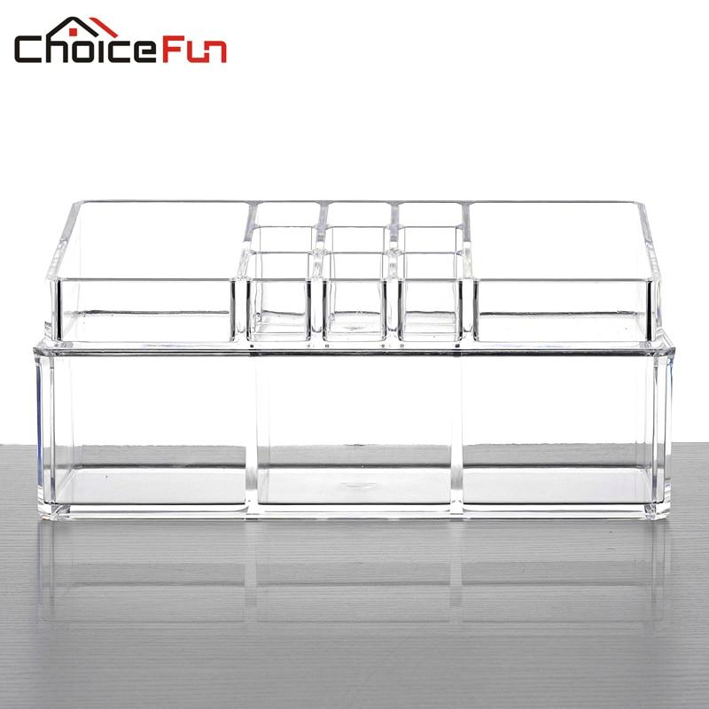 CHOICEFUN Clear Acrylic Vanity Desk Make Up Makeup Organizer Box Plastic Lipstick Home Storage Organization For Cosmetic