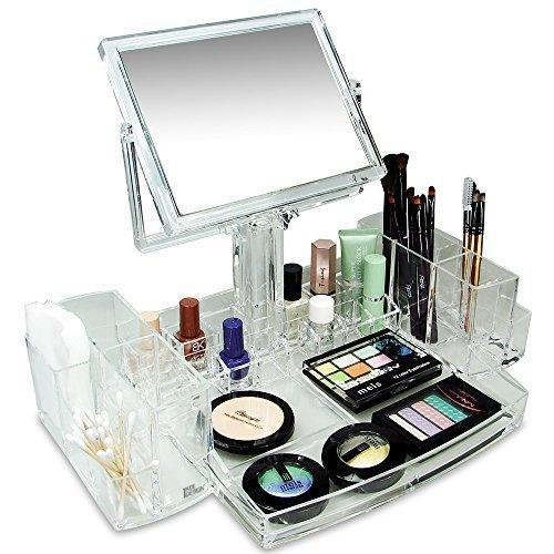 #COM0320 Luxury Acrylic Makeup Organizer with Two Sided Mirror