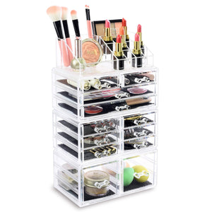 #COML4212 Home Acrylic Jewelry and Cosmetic Storage Boxes Makeup Organizer Set, 4 Piece