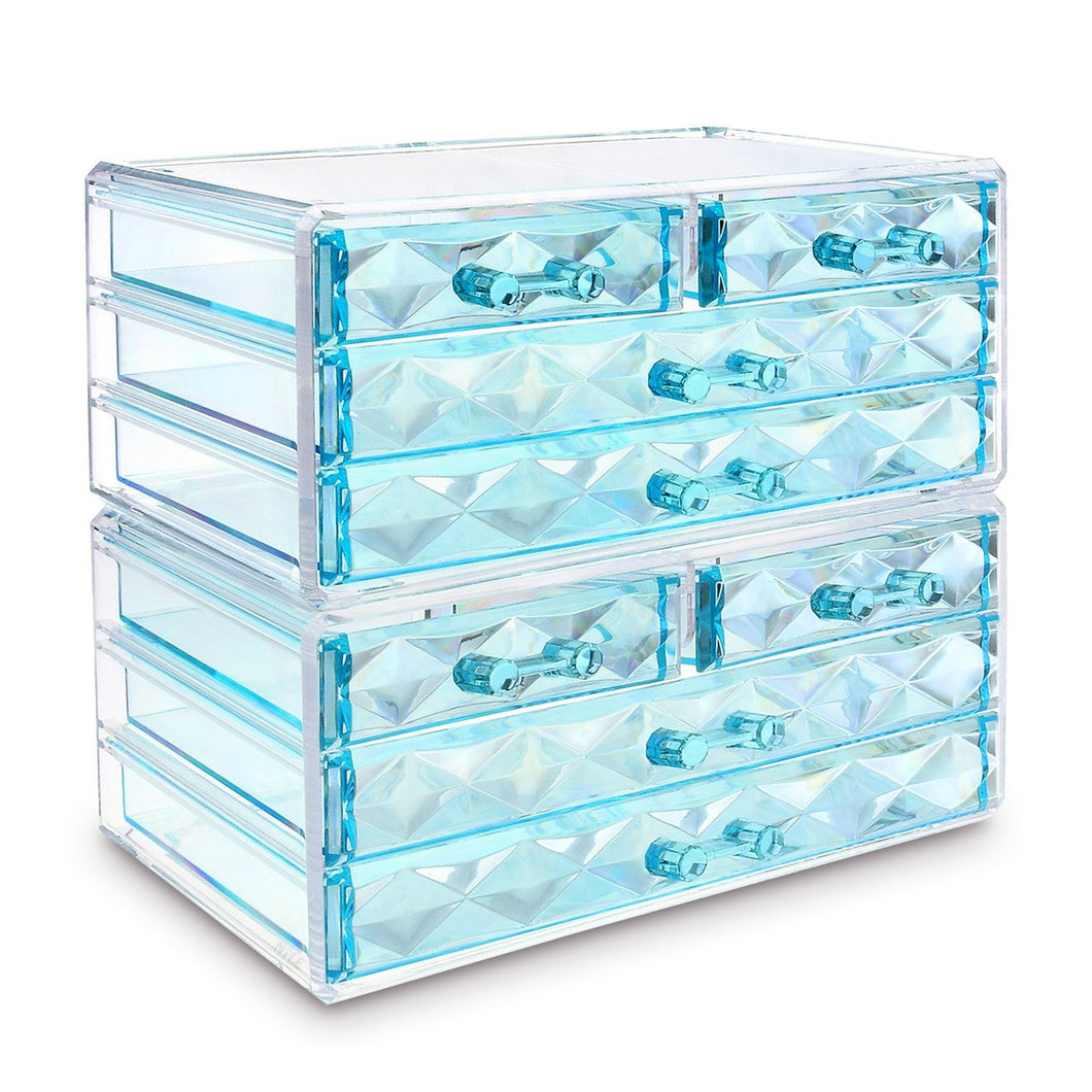 #COMS4296BL Jewelry & Makeup Organizer Drawer, Blue Diamond Pattern