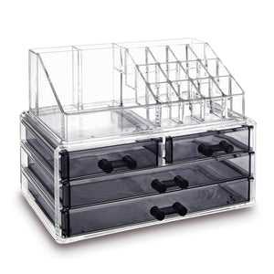 #COMS4397BK Jewelry and Makeup Organizer Two Pieces Set, Clear