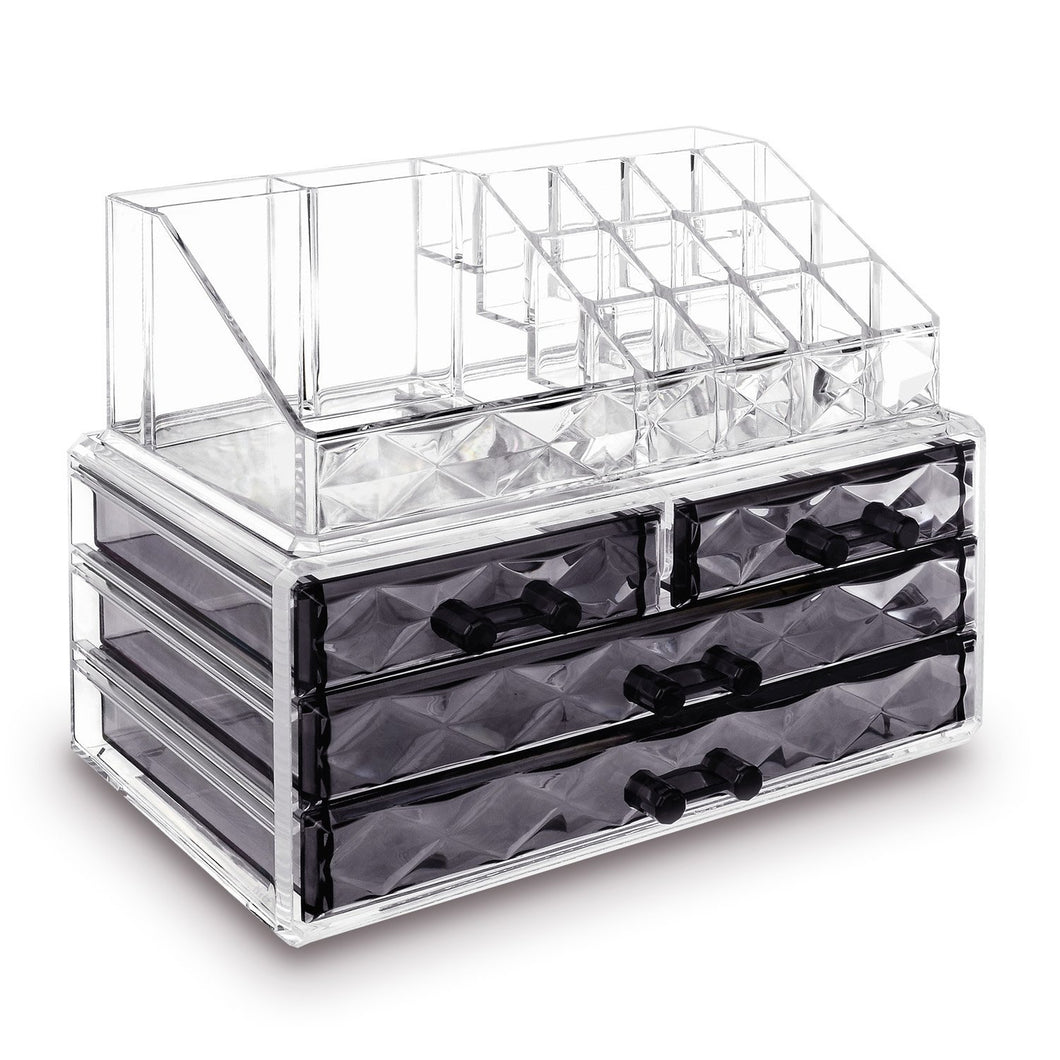 #COMS4497BK Jewelry and Makeup Organizer Two Pieces Set, Clear Diamond Pattern