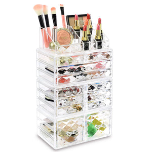 #COMSS3620 Acrylic Cosmetic Makeup Jewelry Storage Display Case, 4 PCS Set