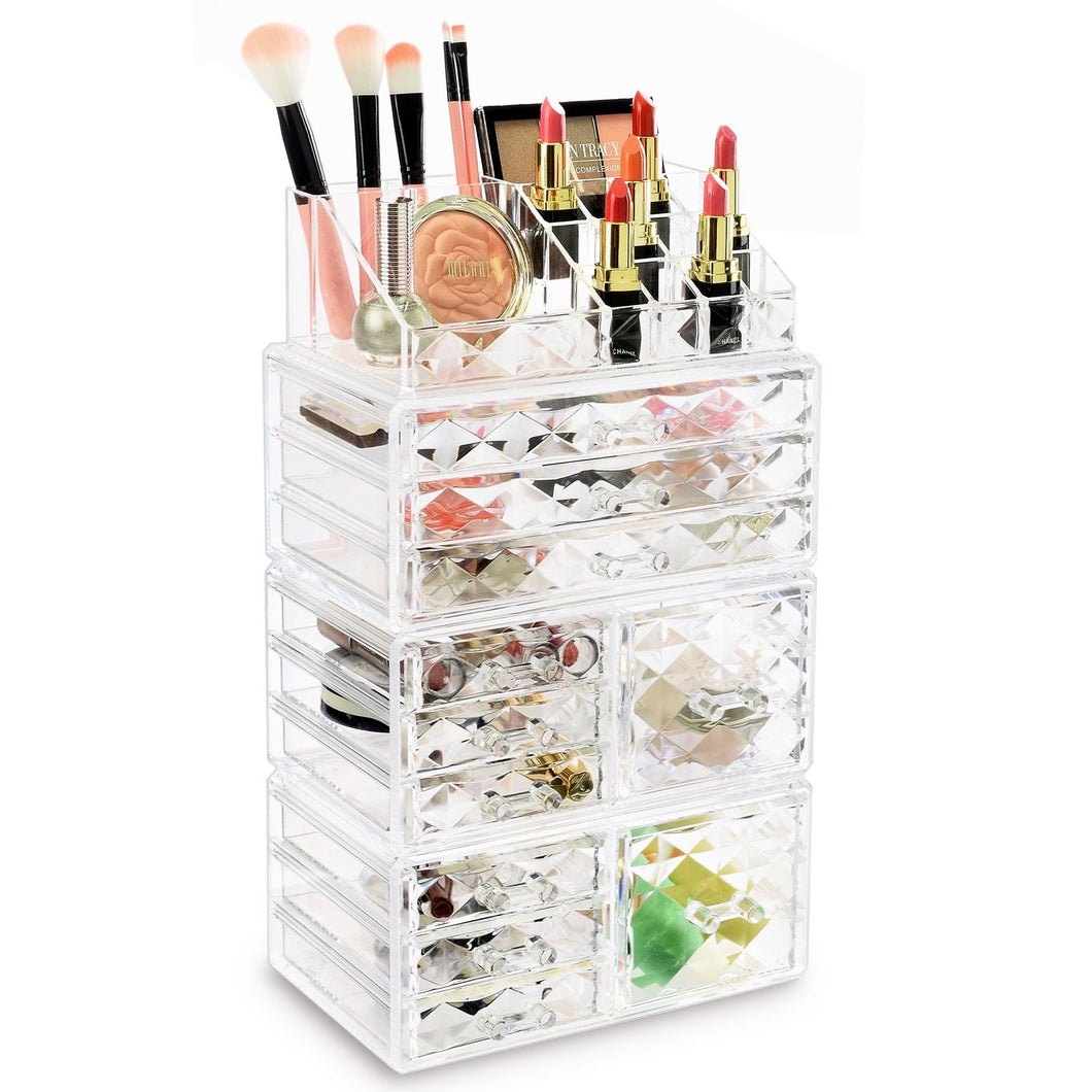 #COMSS3621 Acrylic Cosmetic Makeup Jewelry Storage Display Case Set, 4PCS