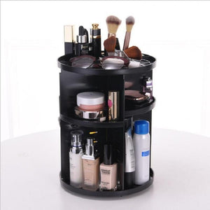360-Degree Rotating Makeup Organizer Adjustable Multi-Function Cosmetic Storage Box