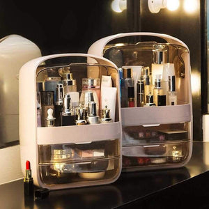 Modern Jewelry and Cosmetic Storage Display Boxes Dustproof Makeup Organizer with Handle