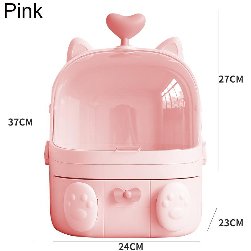 Cute Waterproof Makeup Organizer Cosmetic Storage Box Dustproof with Handle and Drawer