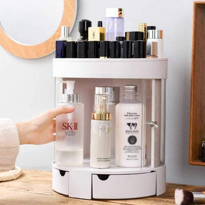 360 Degree Rotating Makeup Organizer Adjustable Large Capacity Cosmetic Storage
