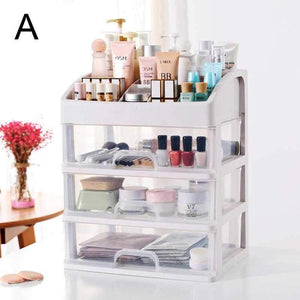 Household Makeup Organizer Plastic Cosmetic Storage Jewelry Display Box with Drawer
