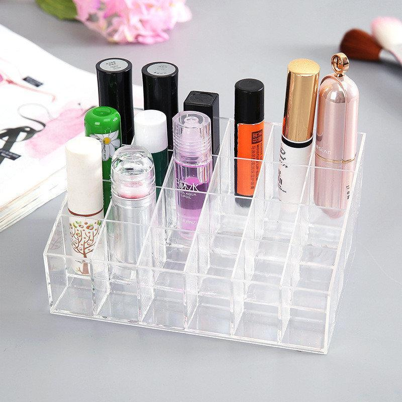 24 Grid Lipstick Holder Acrylic Makeup Organizer Storage Box