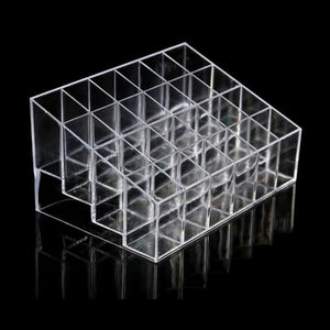 24 Grid Transparent Acrylic Lipsitcks Holder Stand Display Box Makeup Organizer Cosmetic Storage